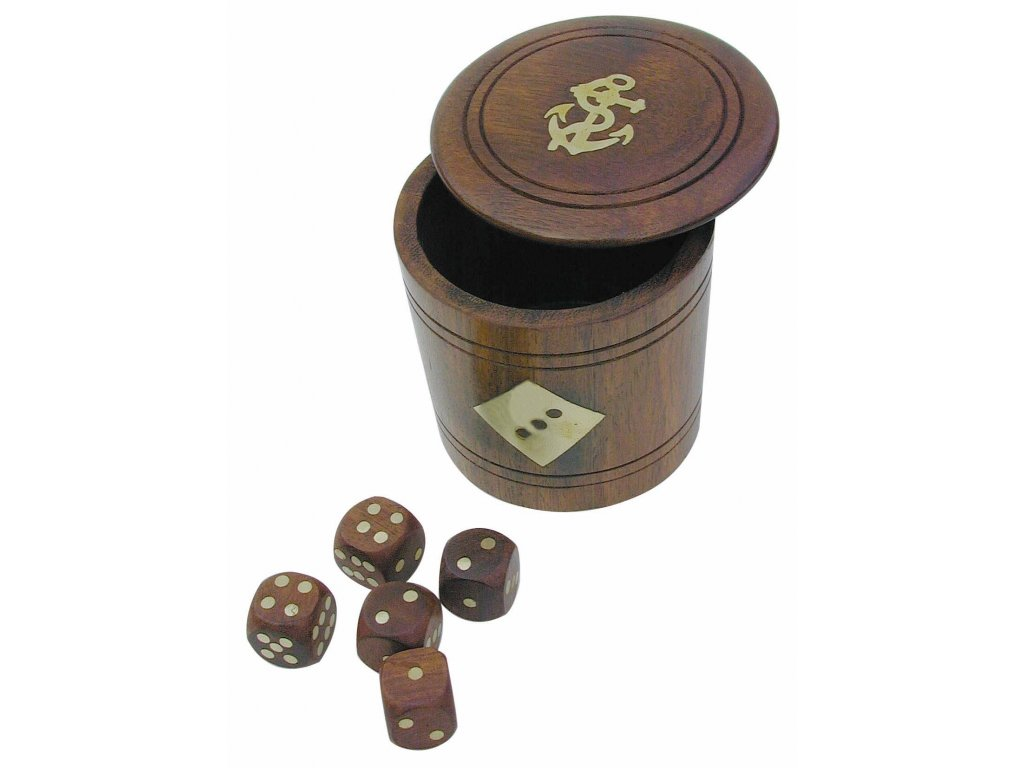 Hrací kostky dřevěné v kulaté dóze s víčkem 7,5 cm 8024