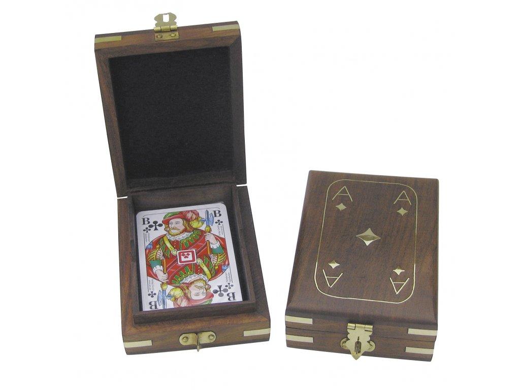 Karty v dřevěné truhle 11,5 x 9 x3,7 cm