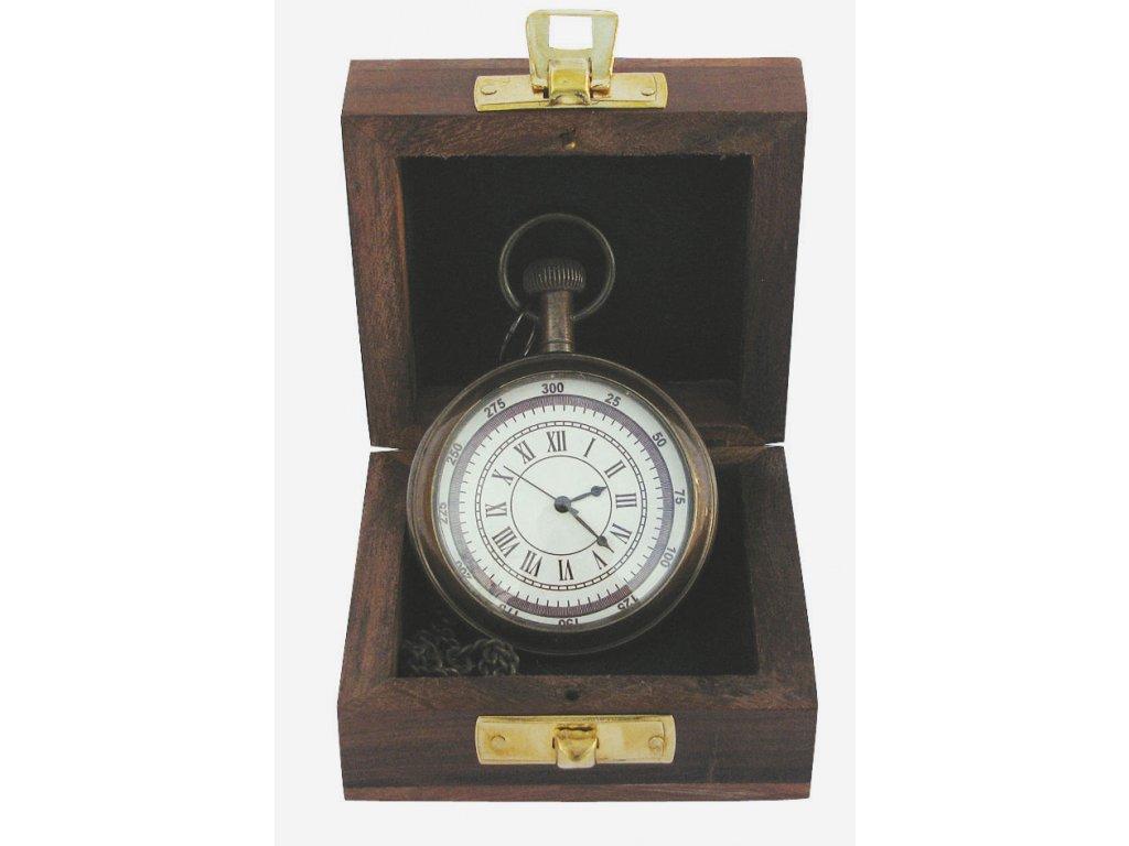 Kapesní hodiny s řetízkem - mosaz antik v dřevěné krabičce