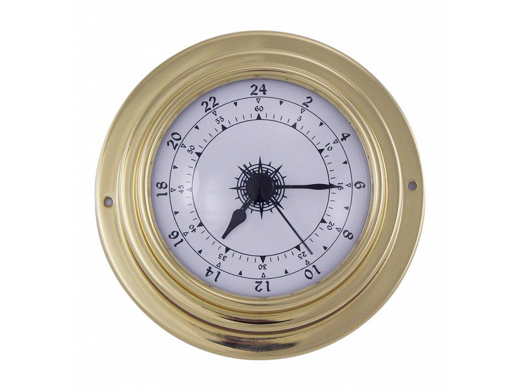 Mosazné hodiny 24h číselník 9,8 cm