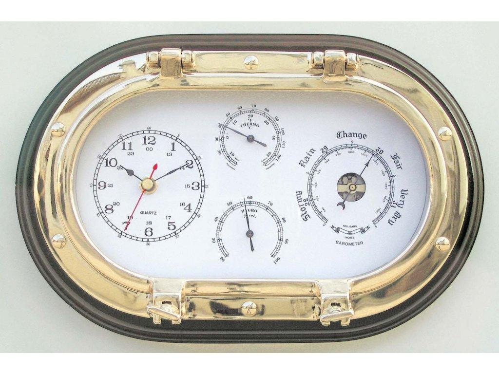 Meteostanice mosazná oválná - dřevěná deska - hodiny barometr teploměr vlhkoměr 31x20,5 cm