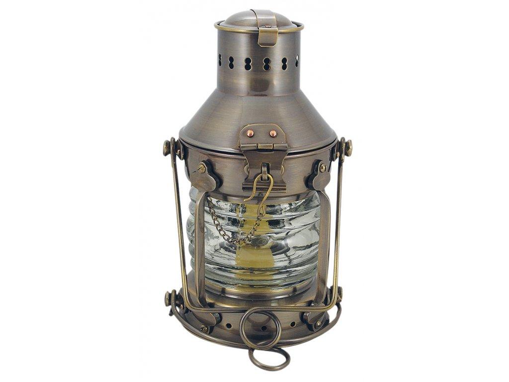 Petrolejová lampa námořnická kotevní - mosazná antik