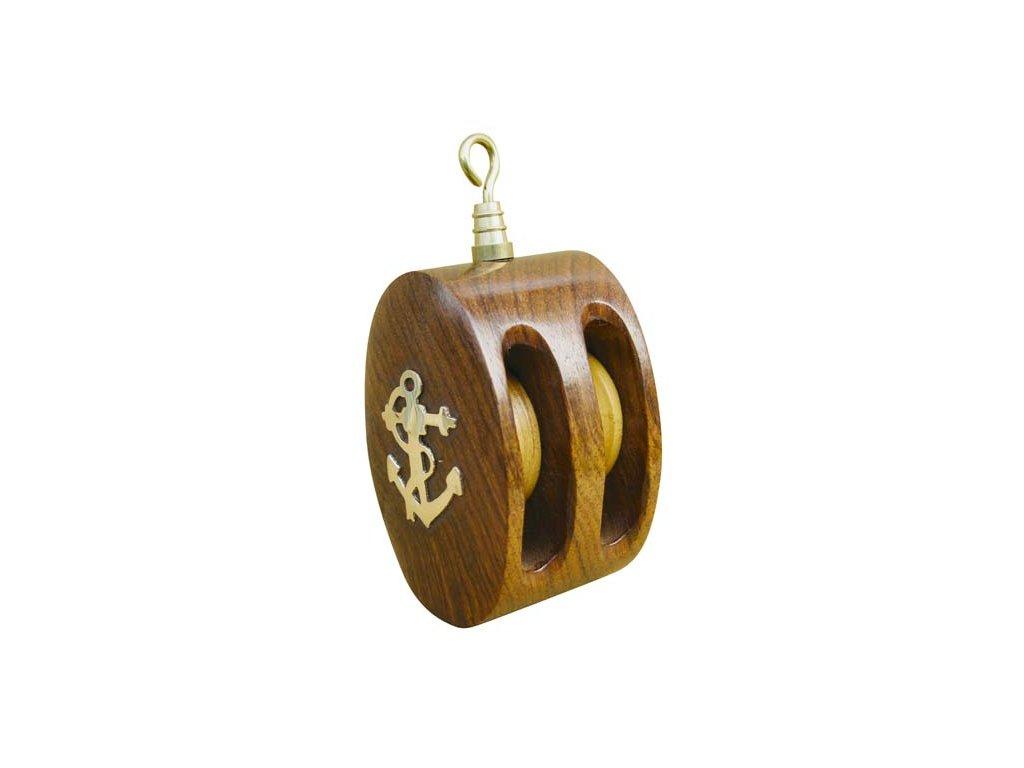 Dřevěná kladka s mosaznou kotvou 9,5 cm