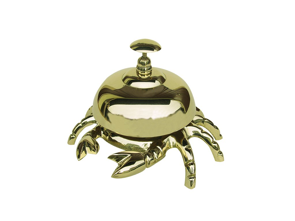 Stolní zvonek - recepce - mosazný - krab Ø 13 cm 9257