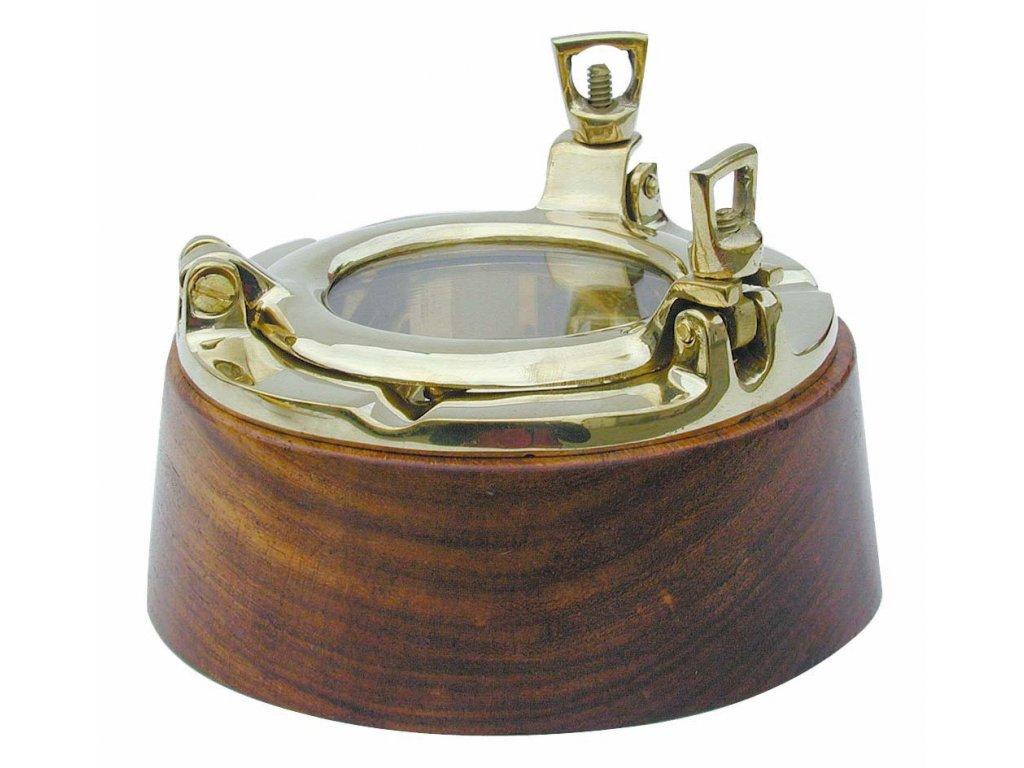 Popelník námořnický mosazný a dřevěný - lodní okno 12 cm