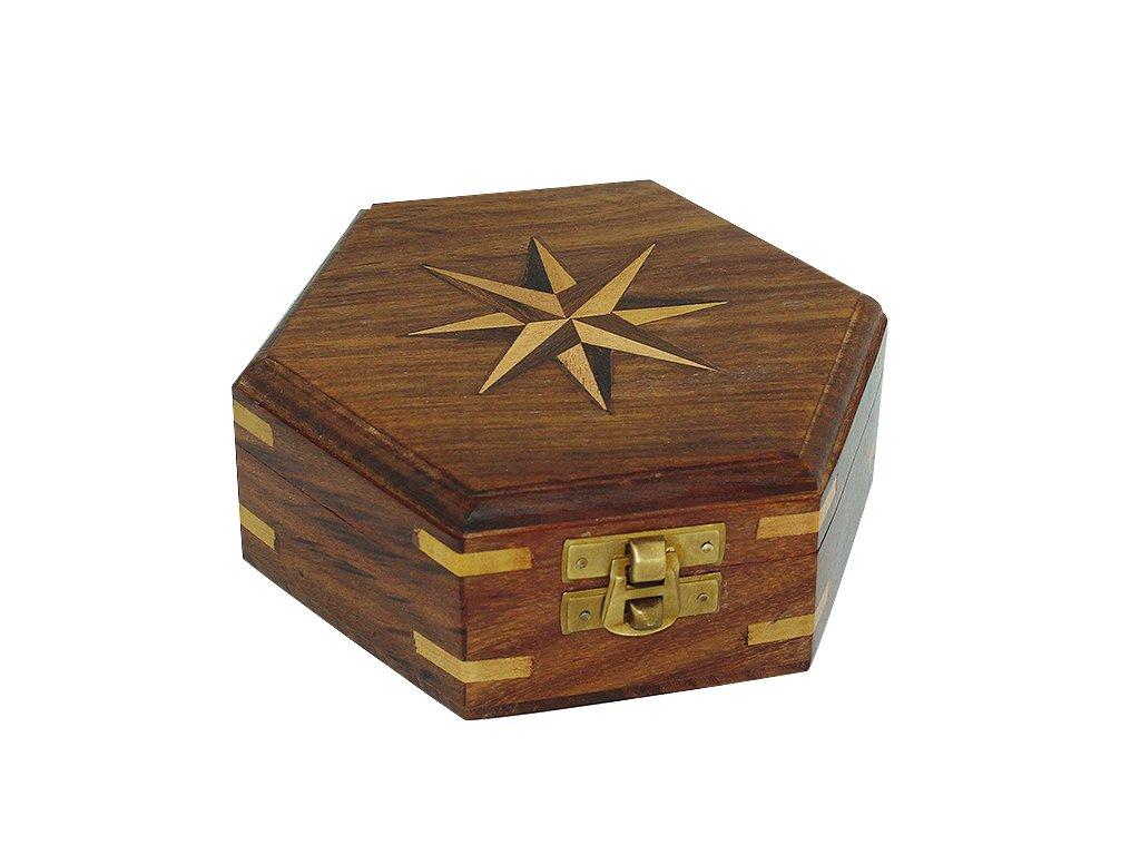 Dřevěná truhla - box s větrnou růžicí 13,5 cm