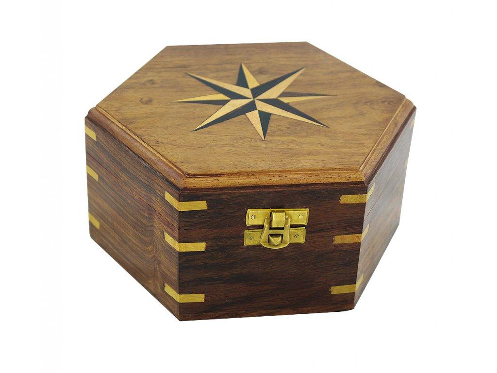 Dřevěná truhla - box s větrnou růžicí 18,5 cm