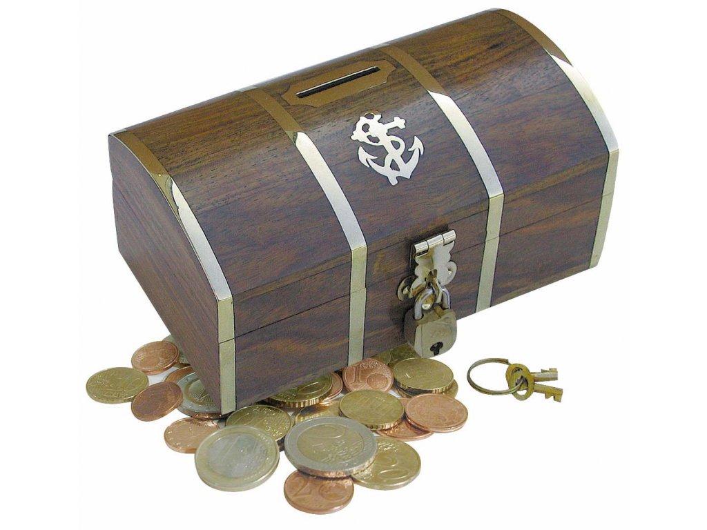 Dřevěná truhla - box kasička - pokladnička na mince 9005 sleva