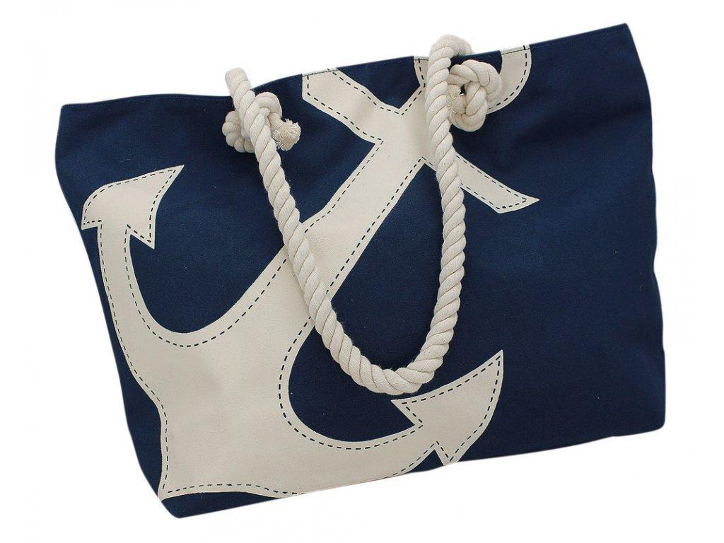 Taška nákupní a plážová námořnická s kotvou modrá 9837 50 cm