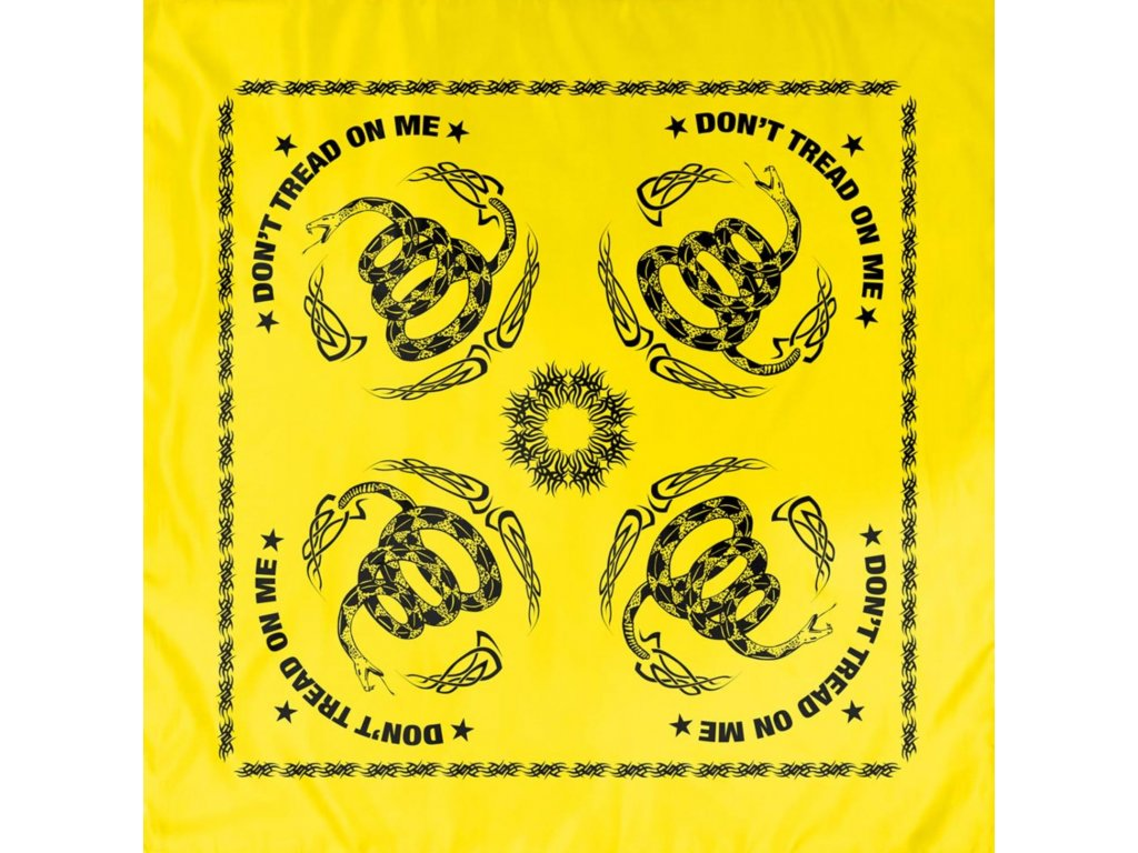Šátek DON´T TREAD ON ME 55 x 55 cm ŽLUTÝ