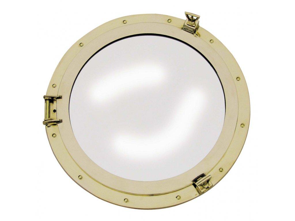 Lodní okénko otvíravé zrcadlové Ø 50 cm - mosazné