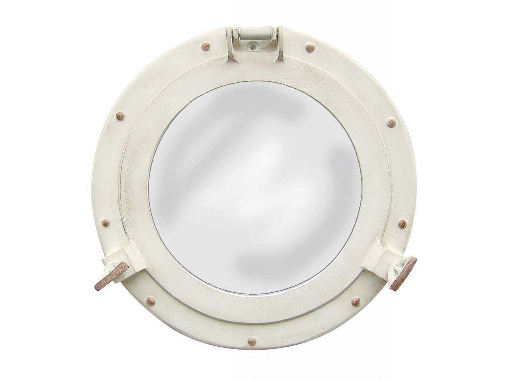 Lodní okénko otvíravé zrcadlové Ø 28,5 cm - hliníkové v slonovinovém vzhledu