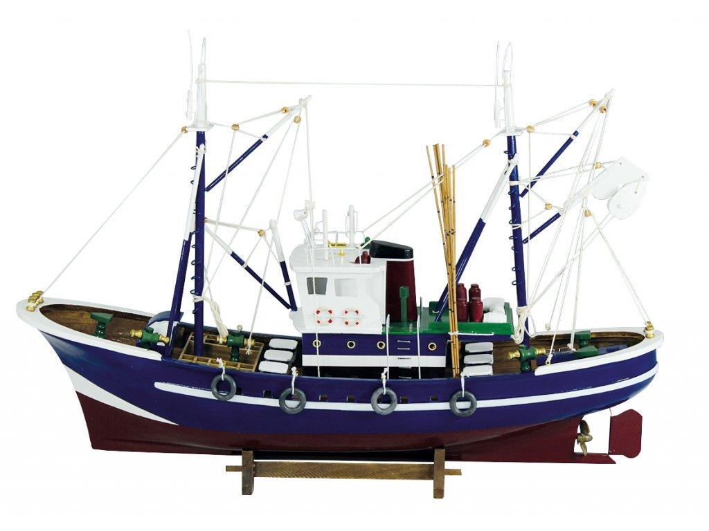 Model modré rybářské lodě 58 cm