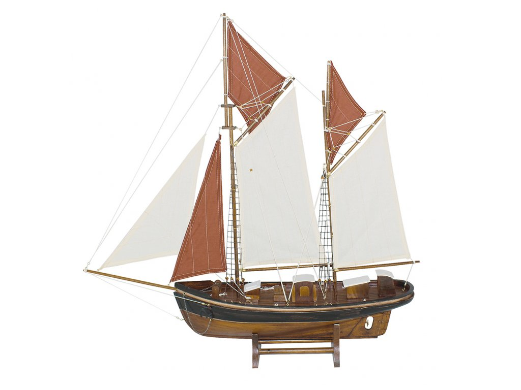 Model rybářského člunu s bílými a červenými plachtami 75 cm