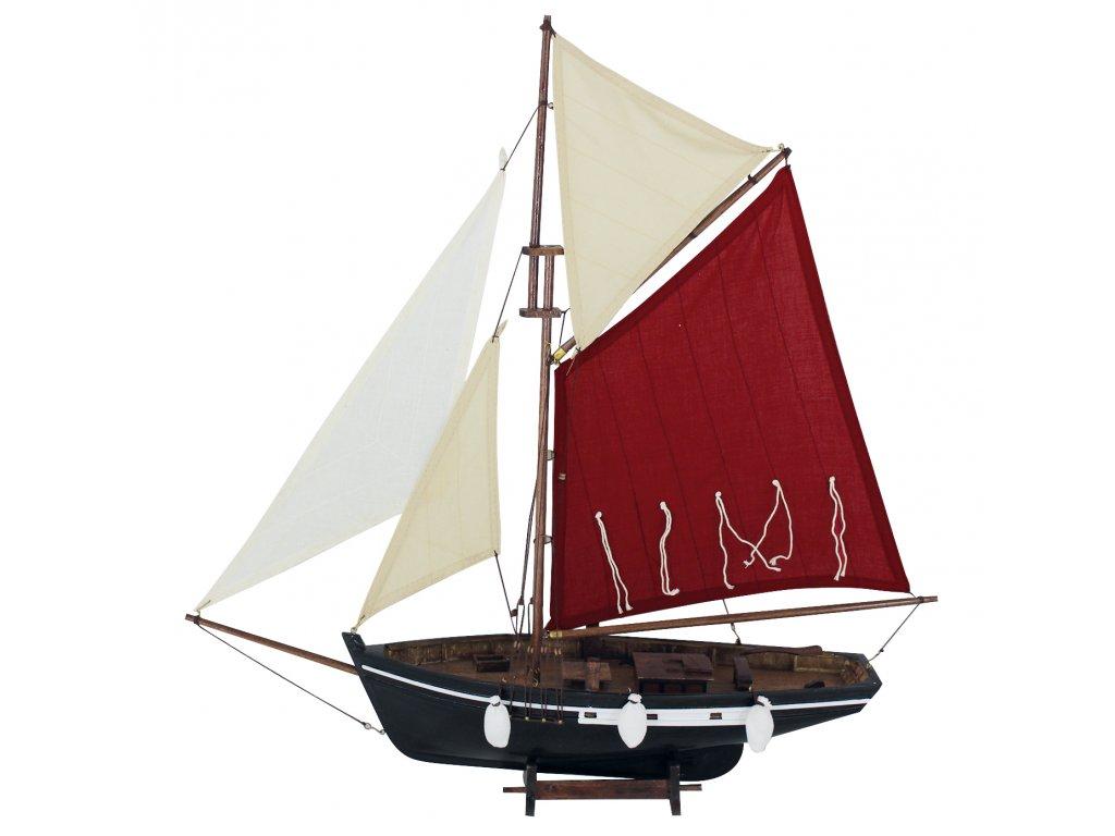 Model rybářského člunu s červenými a bilymi plachtami 58 cm