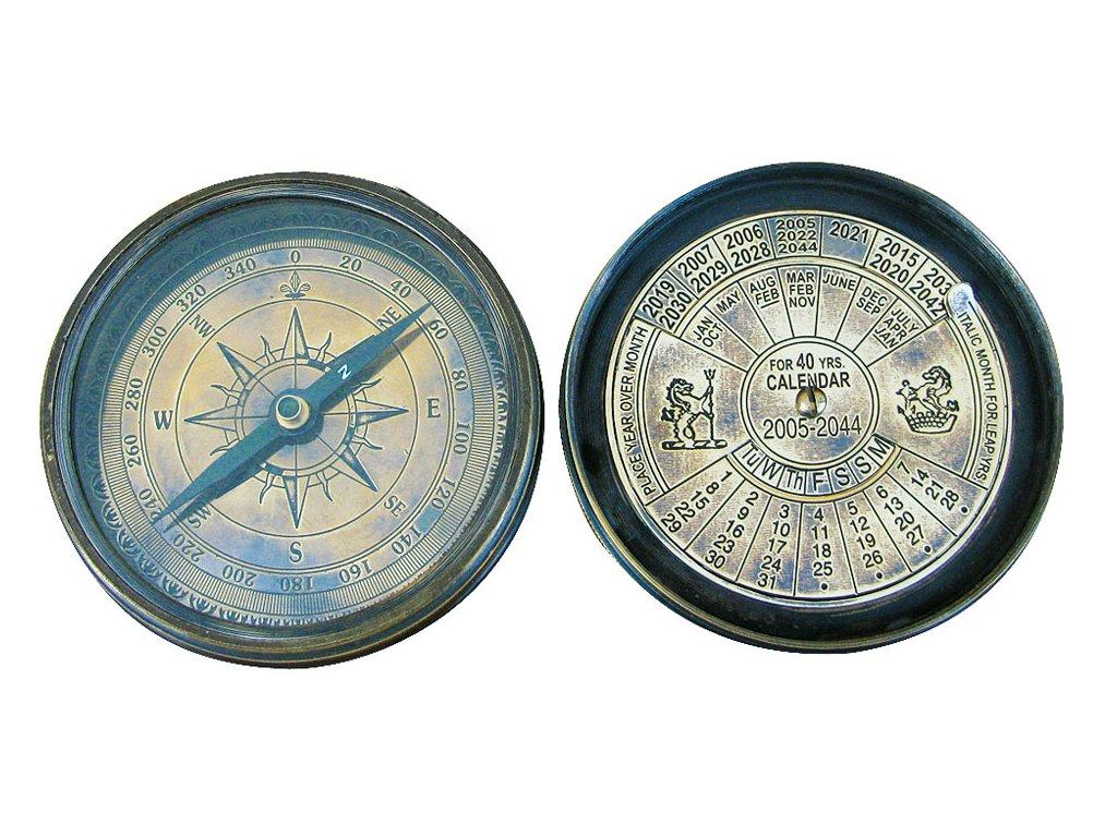 Mosazný kompas a kalendář antik s kotvou Ø 7,5 cm 8526