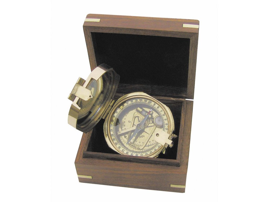 Mosazný kompas Brunton průměr v dřevěné krabičce Ø 7,5 cm 8221