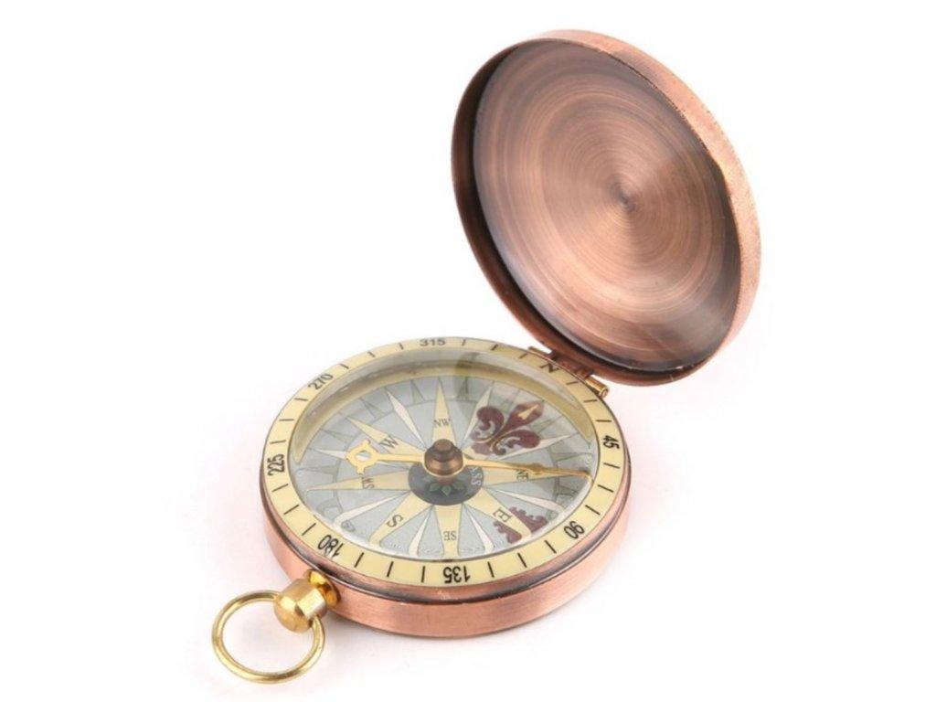 Měděný kompas v uzavíratelném kovovém pouzdru BZ0007