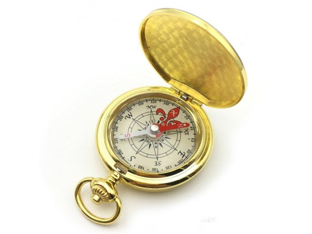 Zlacený kompas v uzavíratelném kovovém pouzdru BZ0004-GD