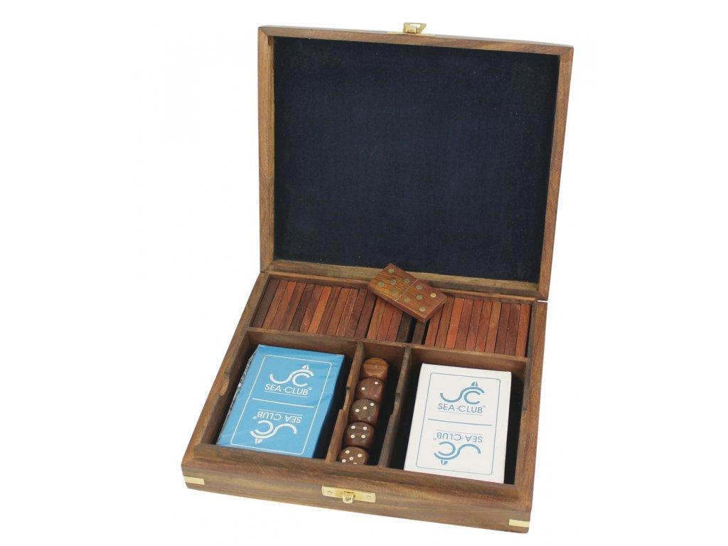 Karty, kostky a domino v dřevěném boxu