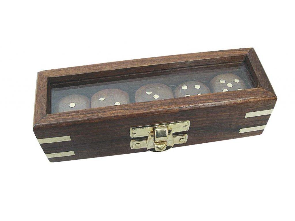 Hrací kostky v průhledném dřevěném boxu