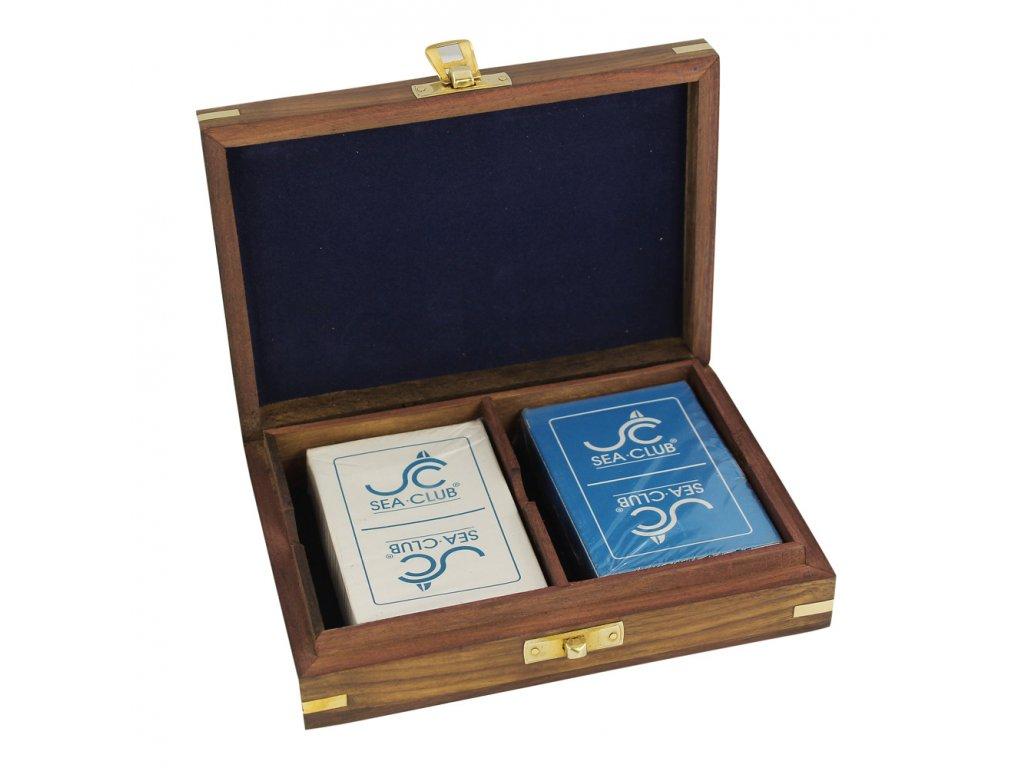 Dvojité karty v dřevěném boxu