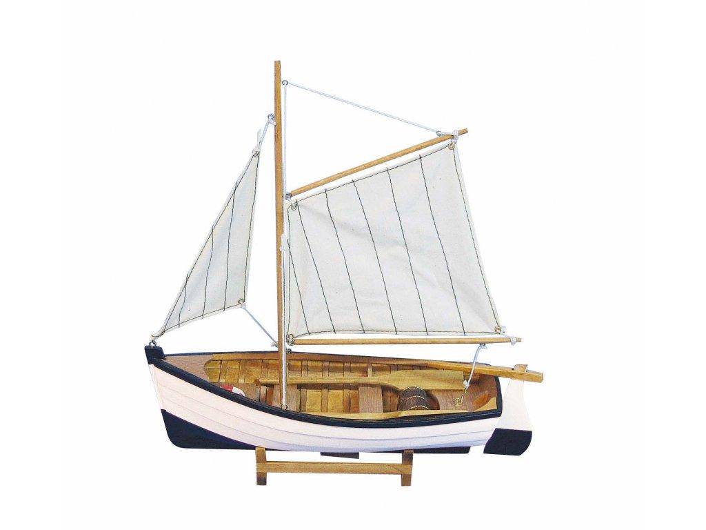 Model malého rybářského člunu s pruhovanými plachtami 32 cm