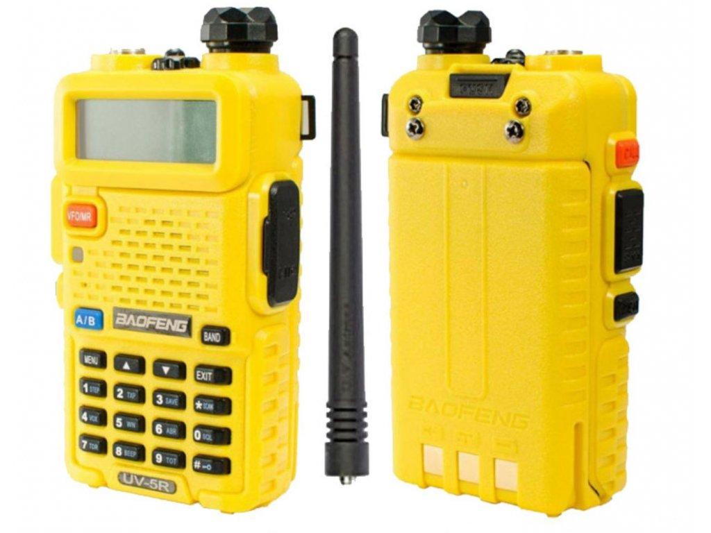 Baofeng UV-5R Žlutá  + HF sada + Naprogramováno