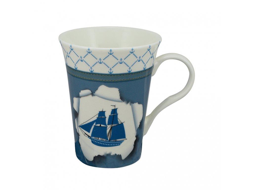 Hrnek porcelánový s plachetnicí