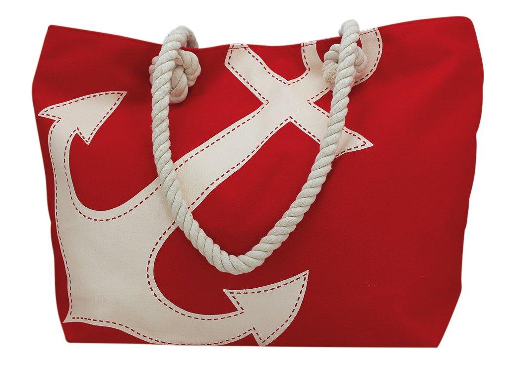 Taška nákupní a plážová námořnická s kotvou ČERVENÁ 9836 50 cm