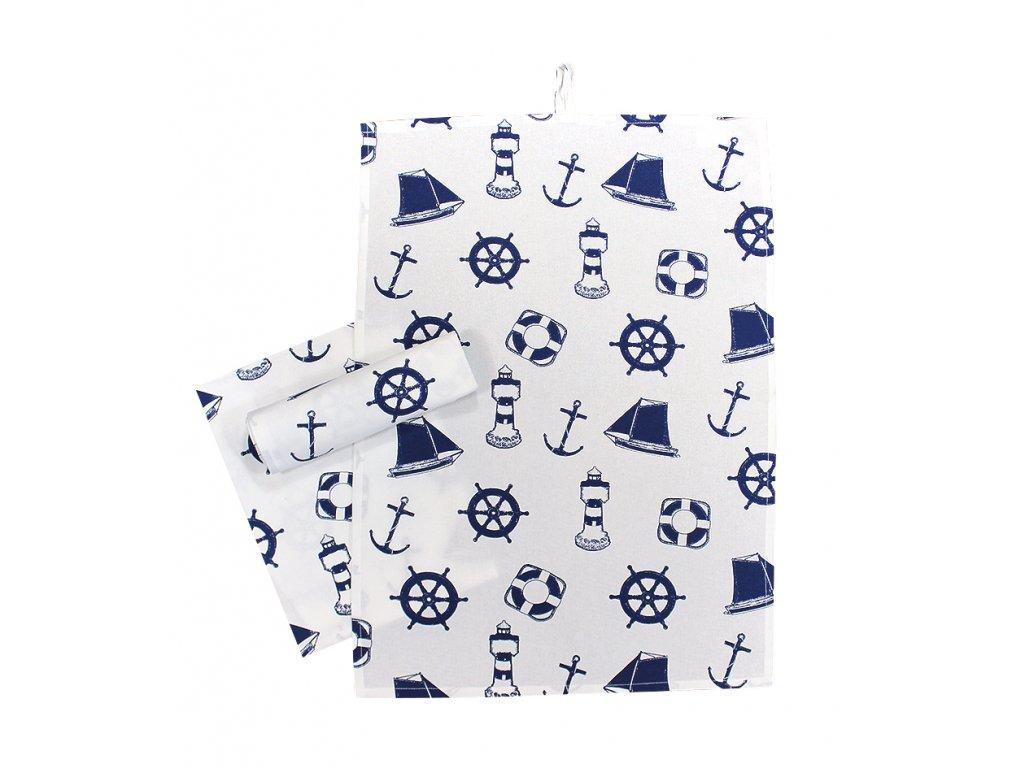 Utěrky námořnické s kotvami