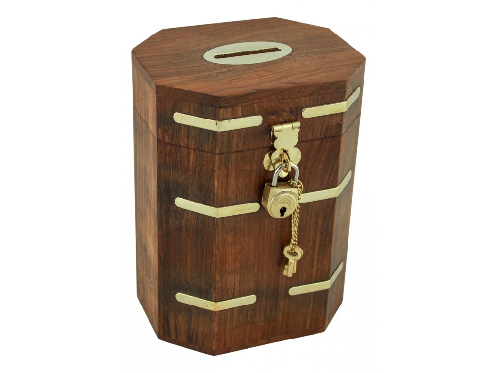Dřevěná truhla - box kasička - pokladnička na mince 9480