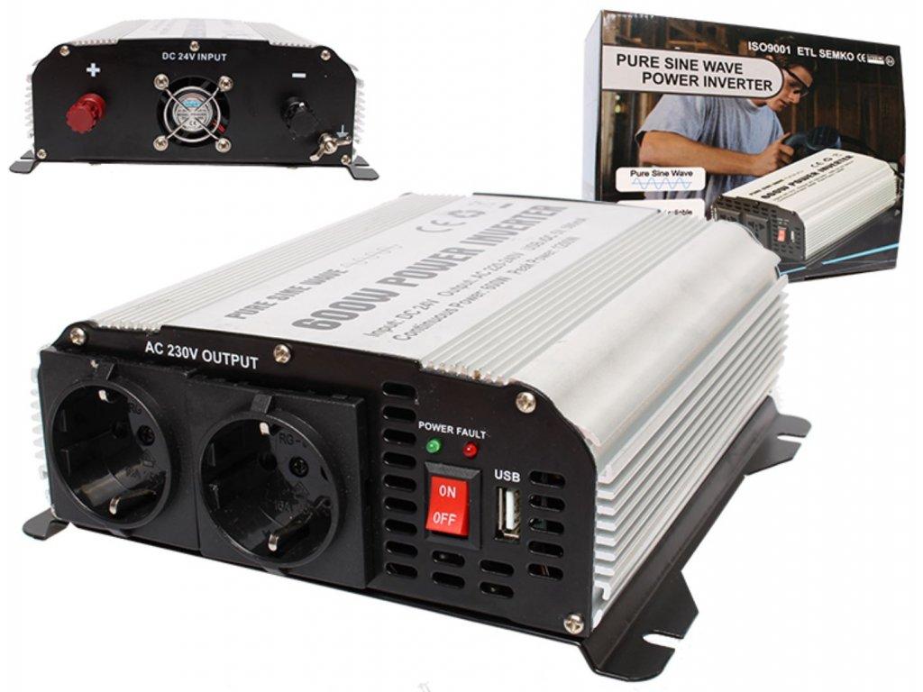 Měnič 24V/230V 600W (1200W) čistá sinusovka