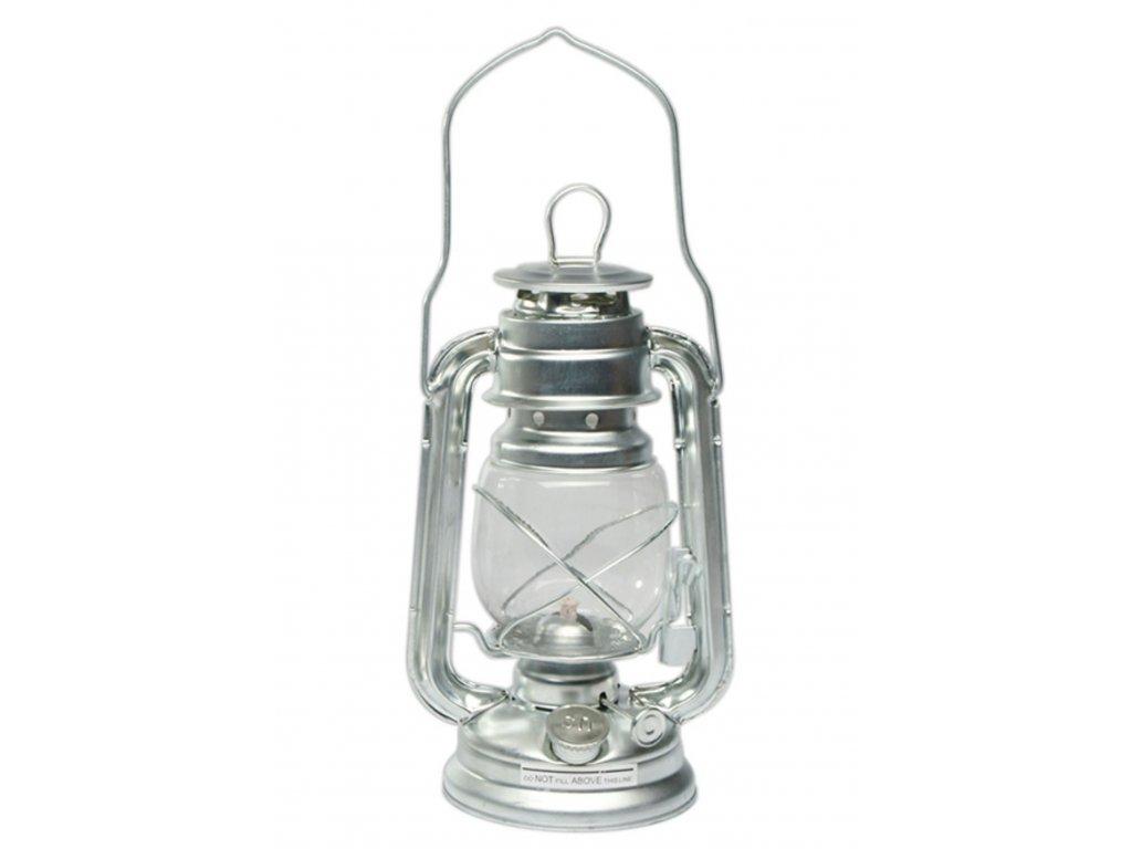 Lampa petrolejová stříbrná lesklá US Army 23 cm