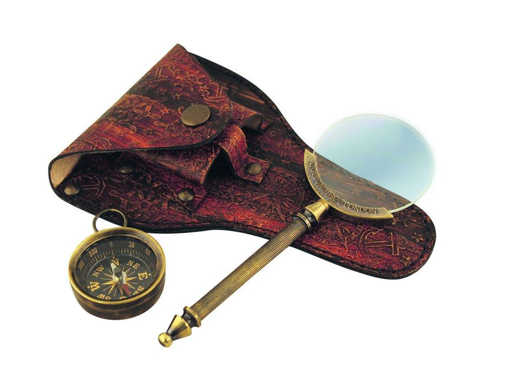 Lupa & kompas v koženém pouzdru 14 cm 8553