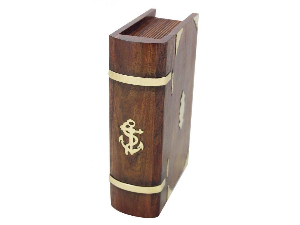Dřevěná truhla - box ve tvaru knihy se zámkem