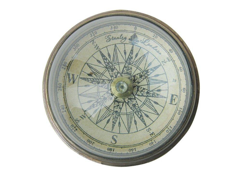 Kompas starožitný se skleněnou kopulí Ø 6cm 8536