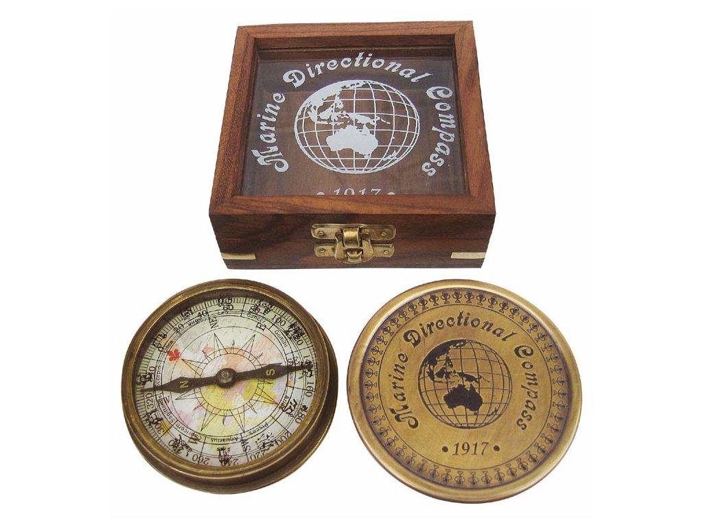 Kompas starožitný v dřevěném proskleném boxu