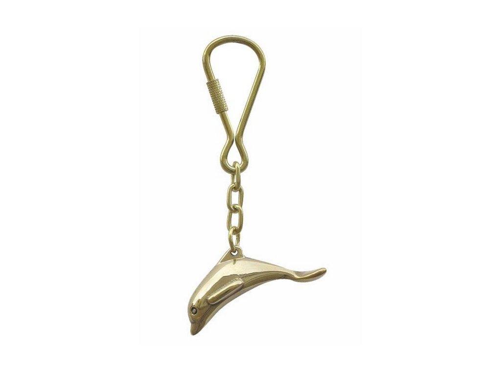 Přívěsek na klíče mosazný - delfín 1027