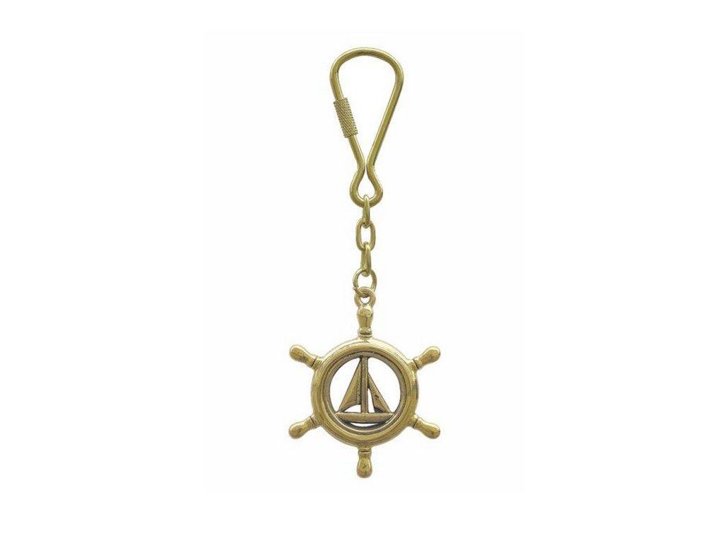Přívěsek na klíče mosaz plachetnice kormidelní kolo 1036