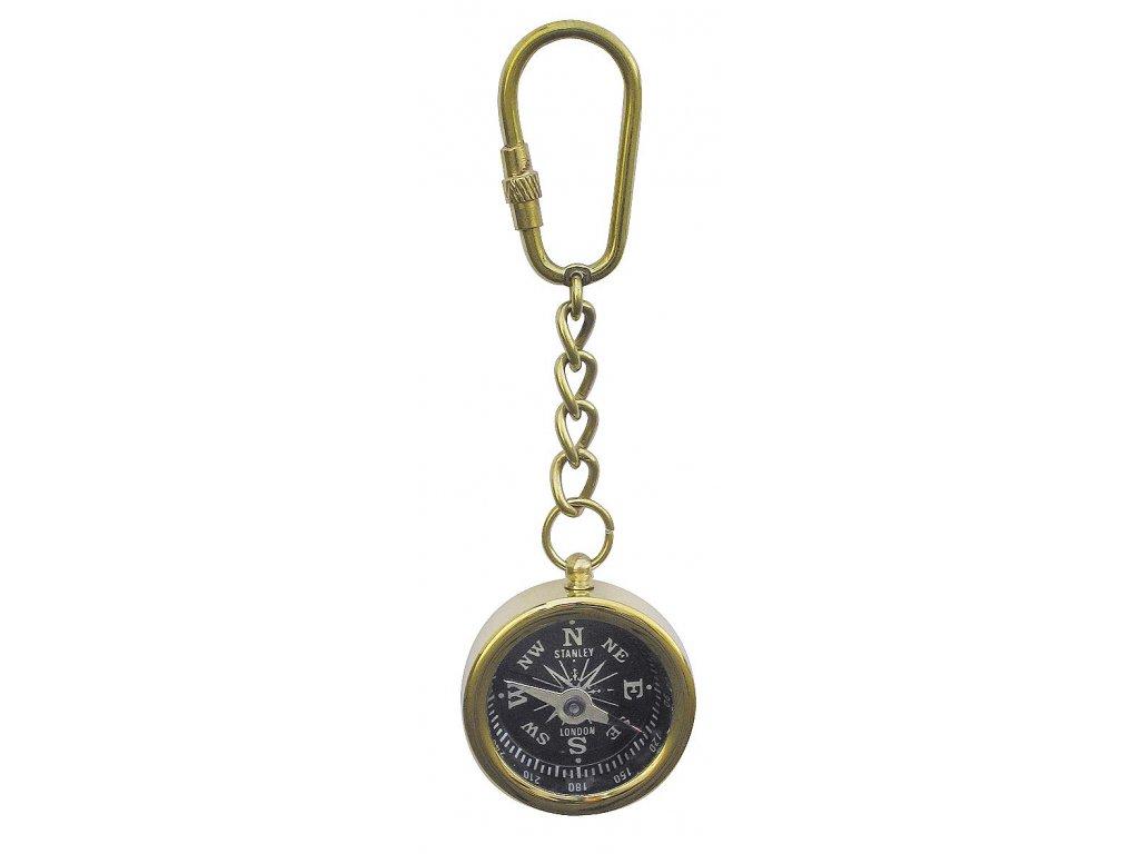 Přívěsek na klíče mosazný kompas