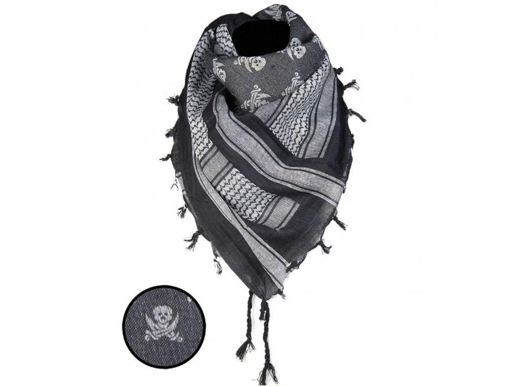 Šátek SHEMAGH pirátský LEBKY ČERNO/BÍLÝ 110 x 110 cm