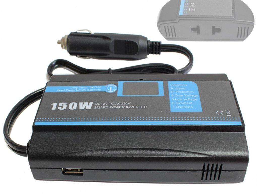 Inteligentní měnič napětí Carspa PID150-12 12V/230V 150W