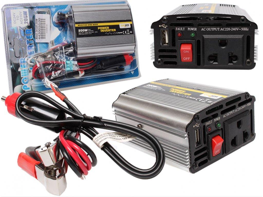 Inteligentní měnič napětí Měnič napětí Carspa CAR200U-24 24V/230V + USB 200W