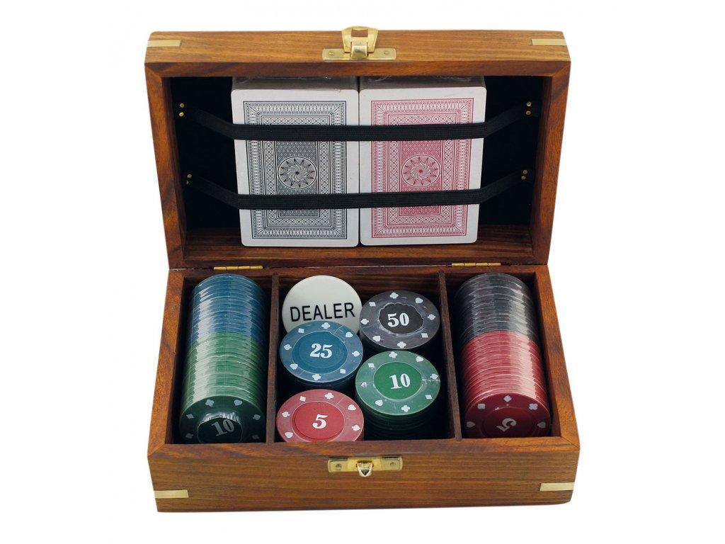 Hra poker v dřevěném boxu