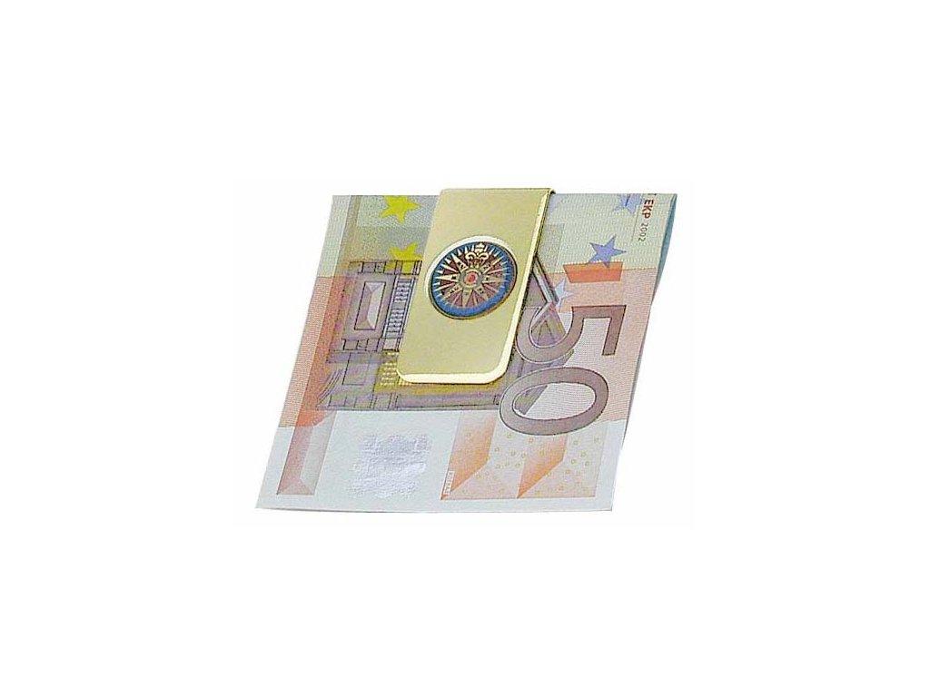 Sponka na bankovky mosazná s růžicí kompasu