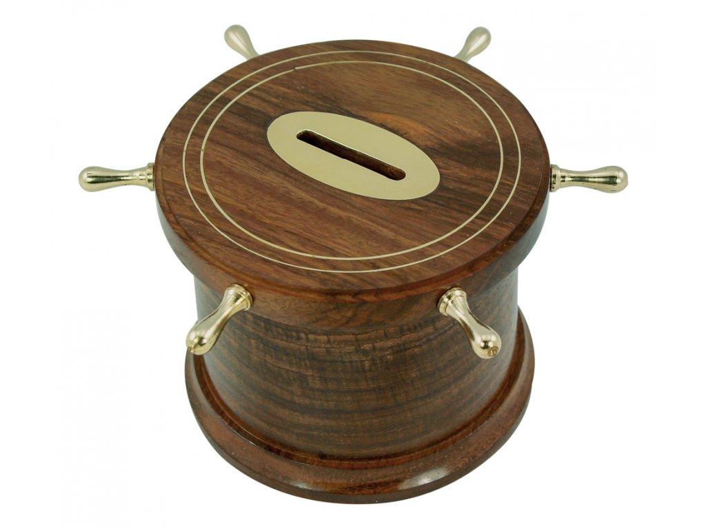 Pokladnička -  kasička na mince  - kormidelní kolo 9454