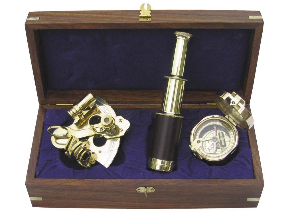 Set dalekohled sextant a kompas 9034