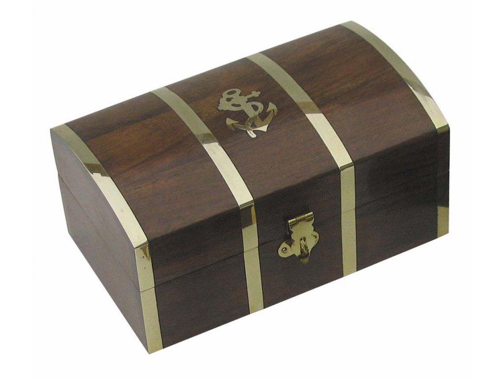 Dřevěná truhla - box s kotvou 18 cm