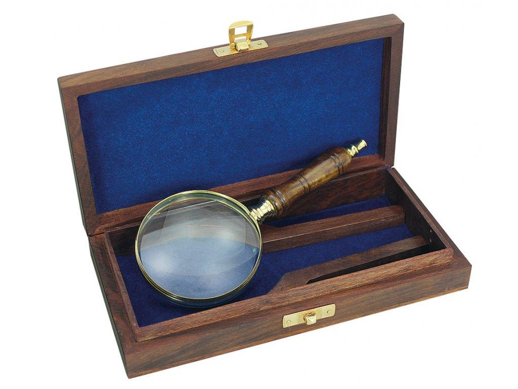 Lupa délky 18 cm v dřevěném boxu